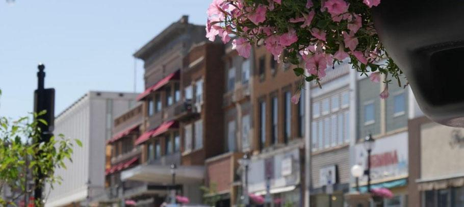Minot City Street with flowers