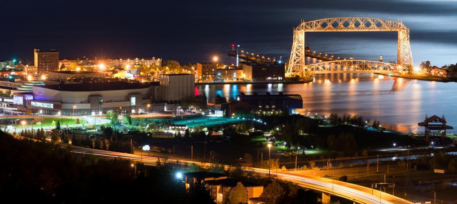 Duluth at night along water